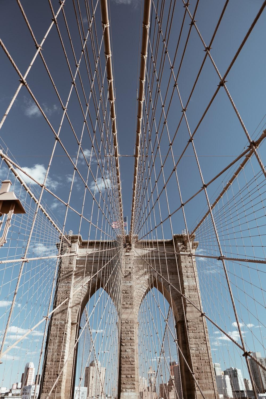 architectural photography of suspension bridge