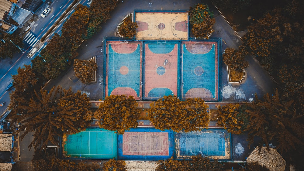 aerial photography of sports court