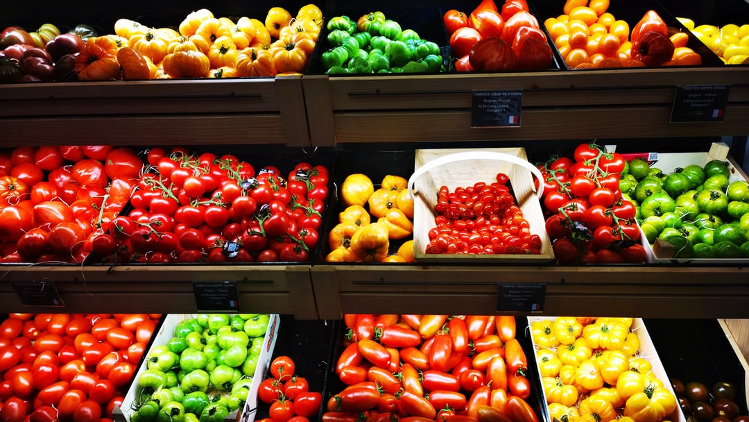 So many kinds and colors of tomatoes at La Grande Epicerie de Paris, France.