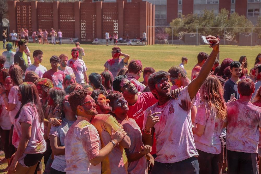 people having group photo taken