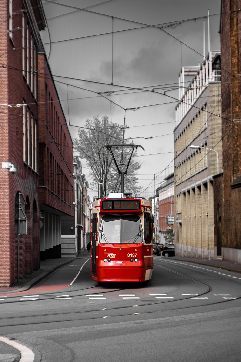 red tram on road during daytime