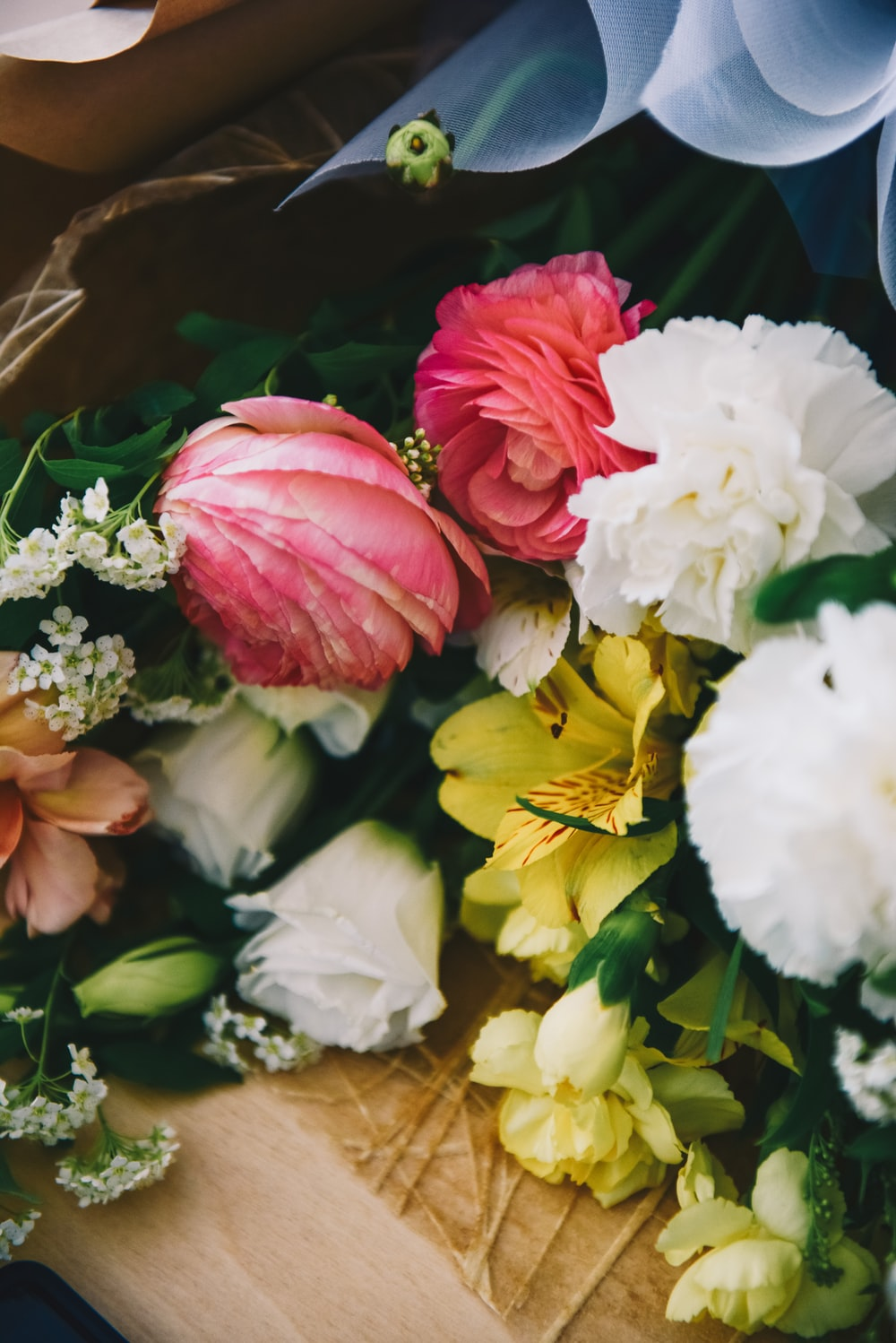 assorted-color flowers on a bouquet