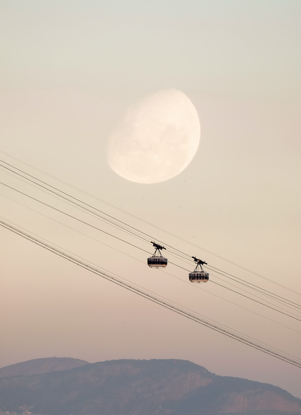 two black cable cars
