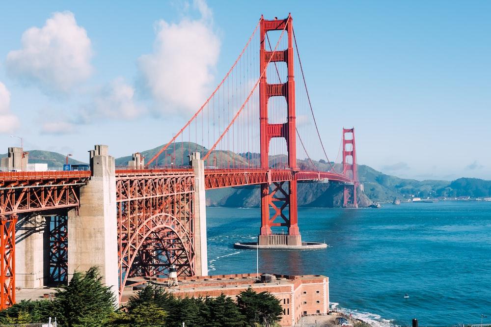 close-up of red suspension bridge