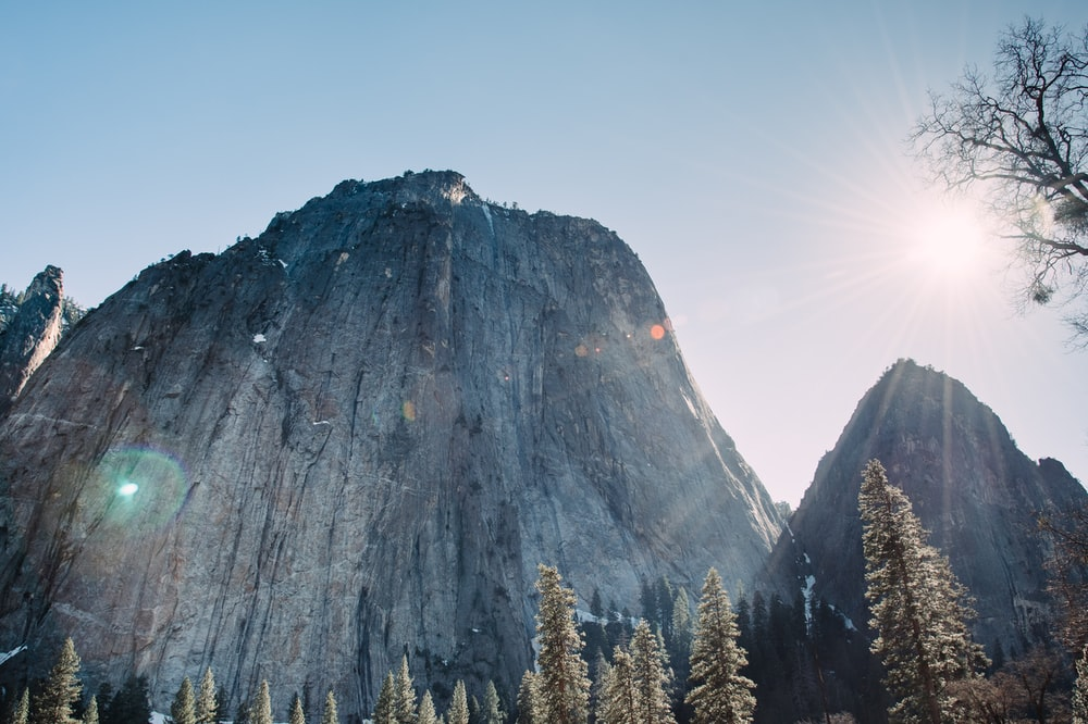 low-angle photography of rock mountain