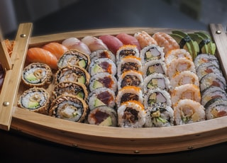 food photography of varieties of sushies