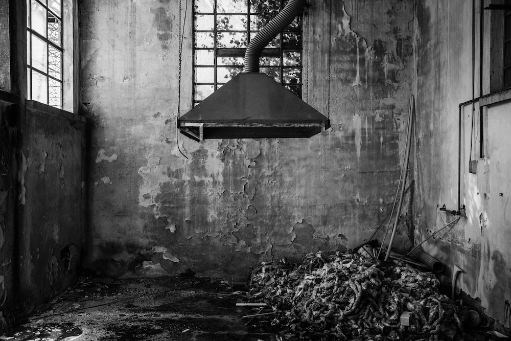 grayscale photography of kitchen hood