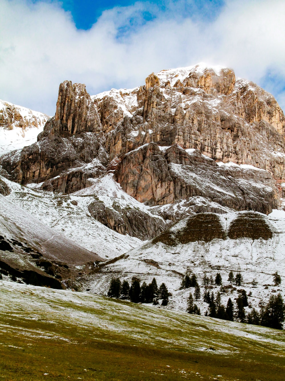 landscape photography of white and brown mountain