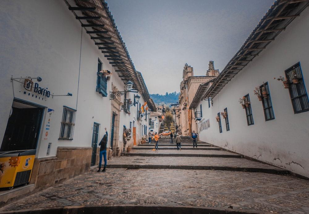 people walking between white houses during daytime