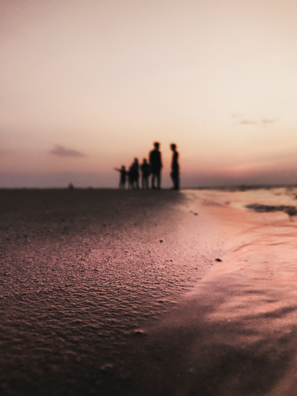silhouette of people standing on shore