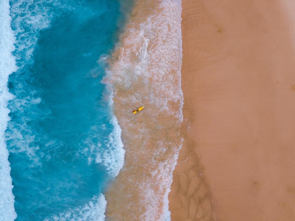 birds-eye view of beach