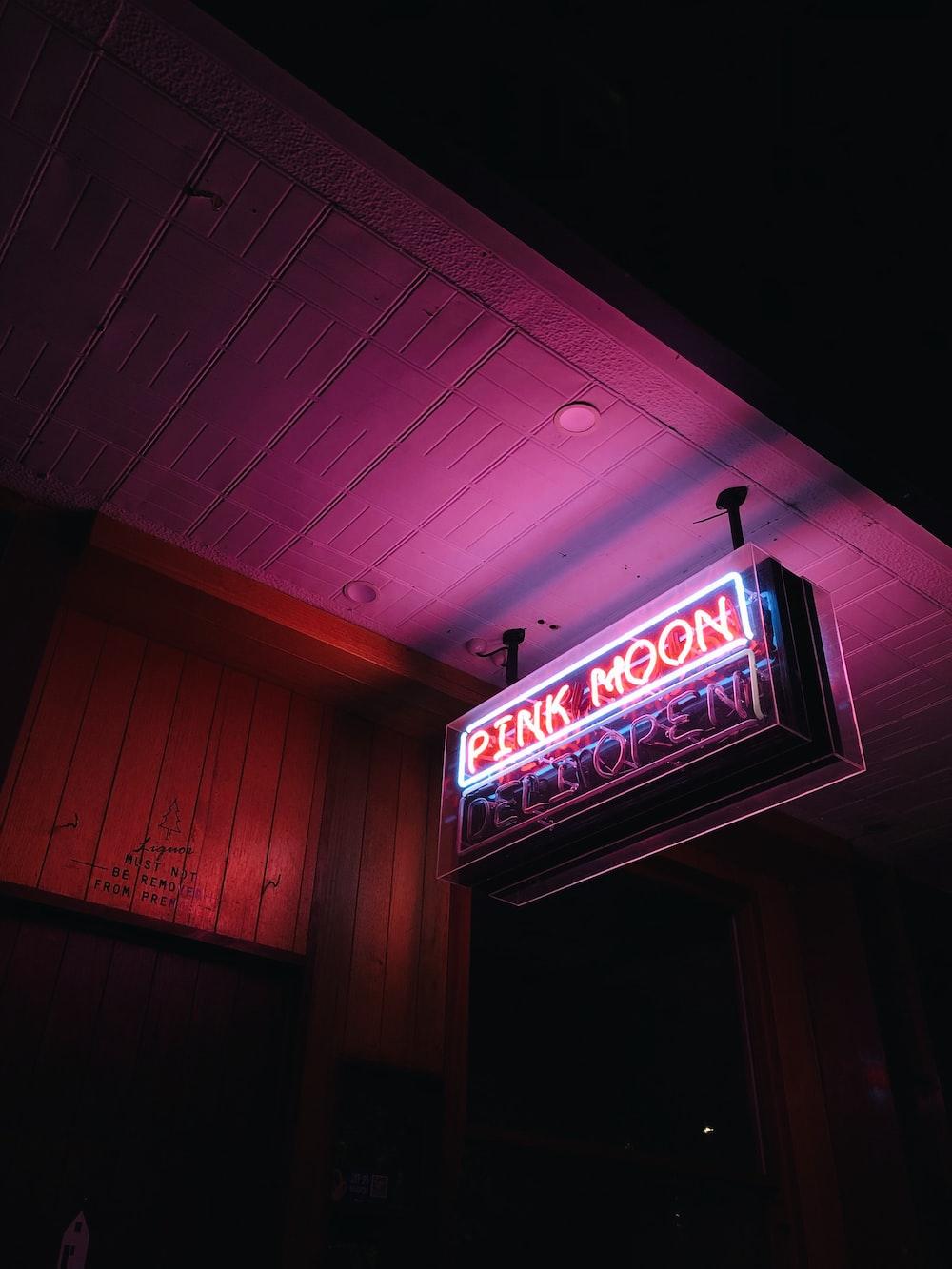 Pink Moon neon signage