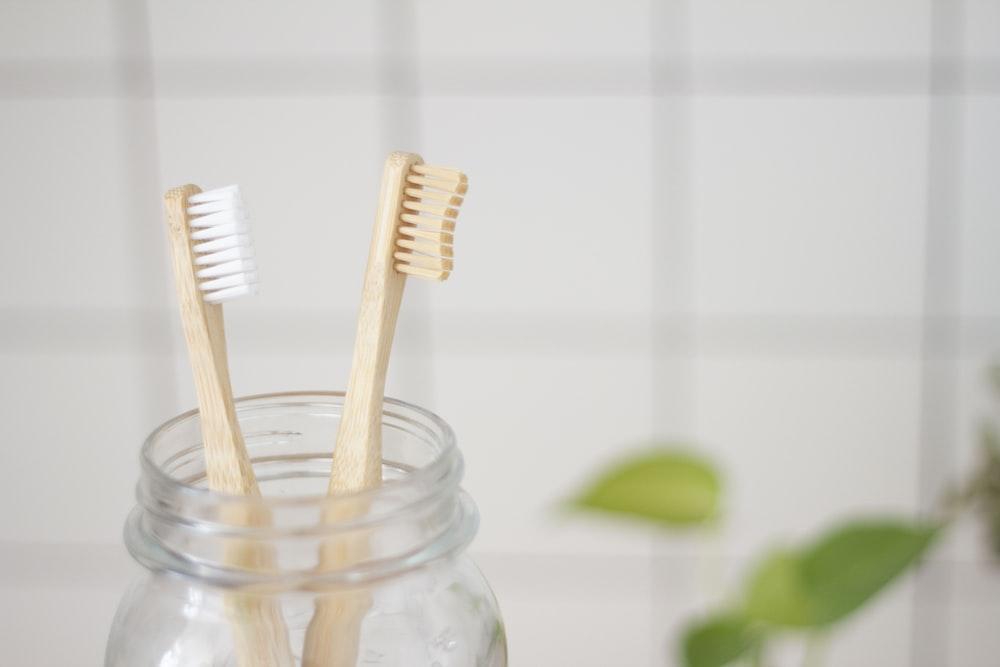 two toothbrush in mason jar