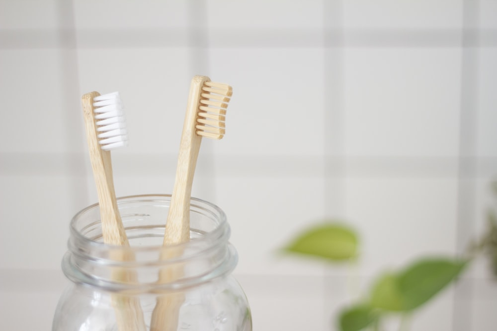 two toothbrush in mason jar