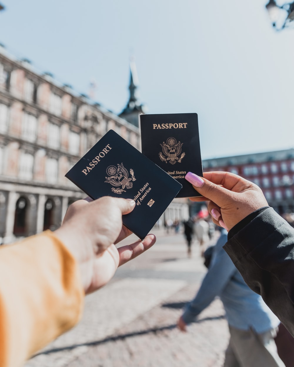 person holding passports