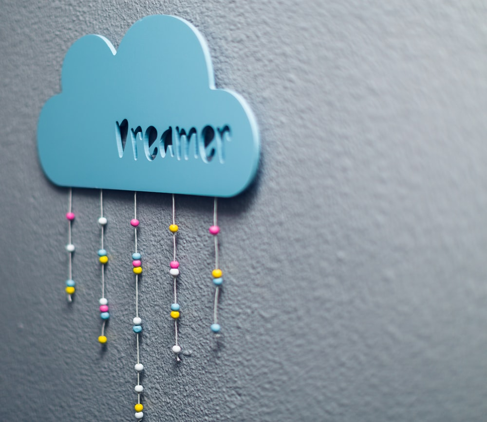 blue hanging decor