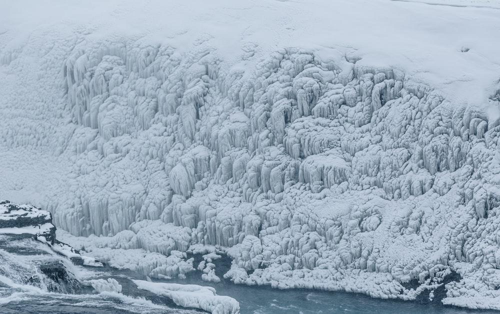 high angle photo of ice age