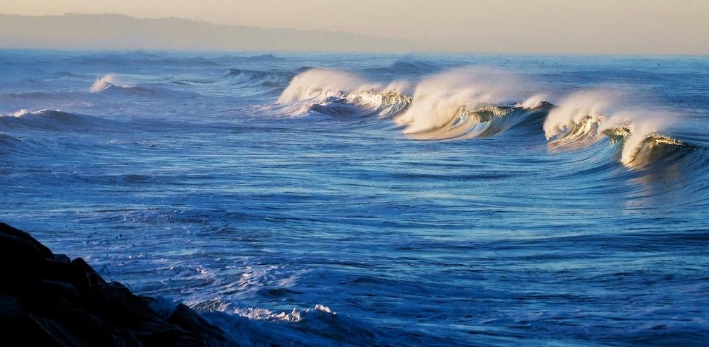 waves crashing at open sea