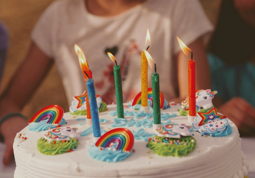 unicorn rainbow Birthday cake with five assorted-color candles