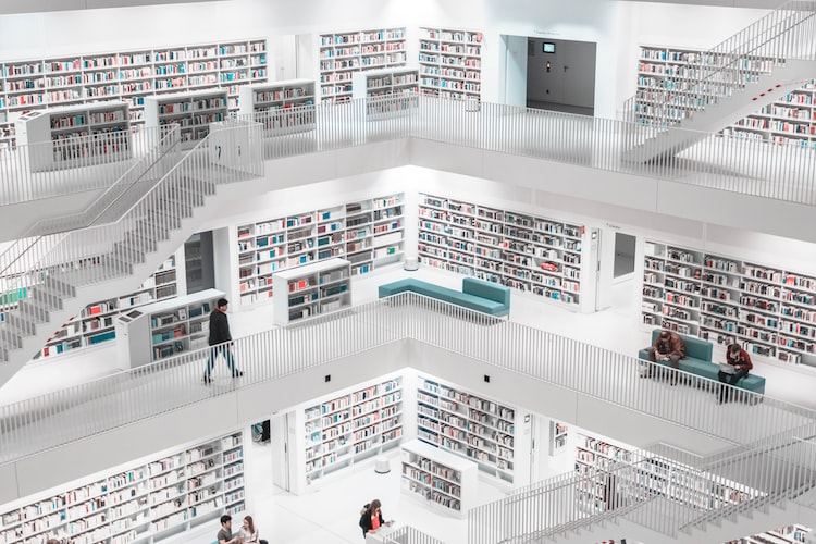 Designed in a cube-like manner, this library is one of a kind.