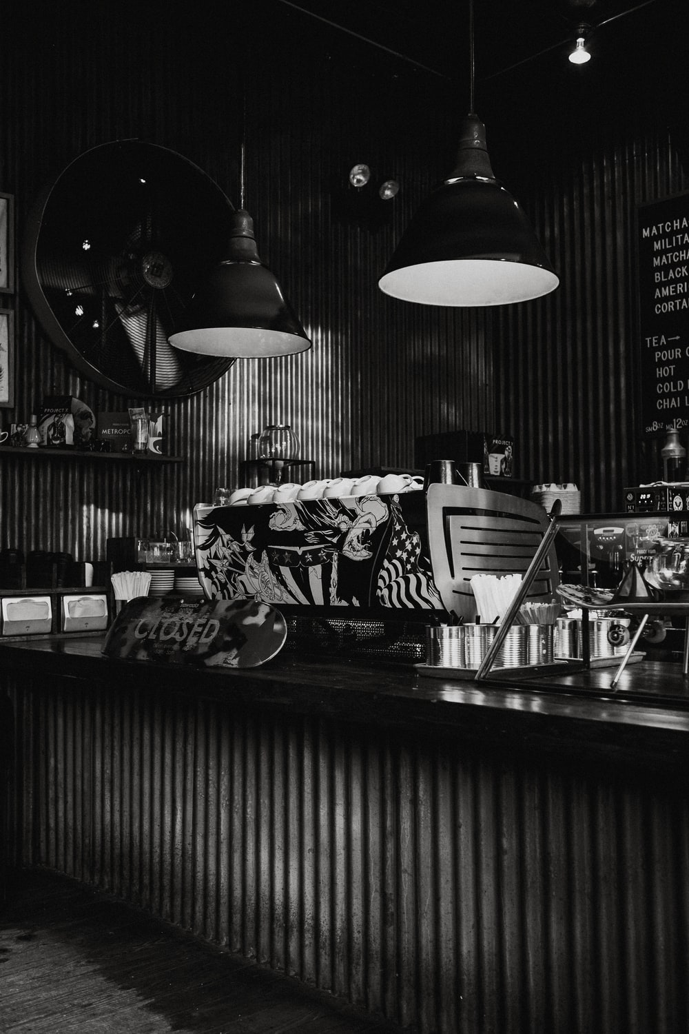 grayscale photography of store