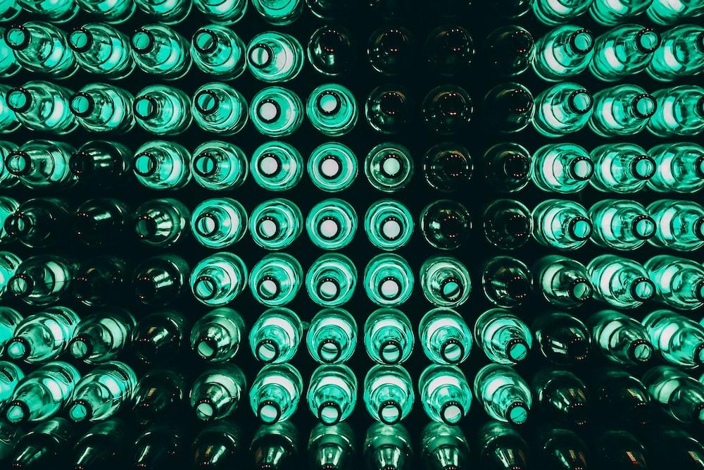 green LED light near bottles
