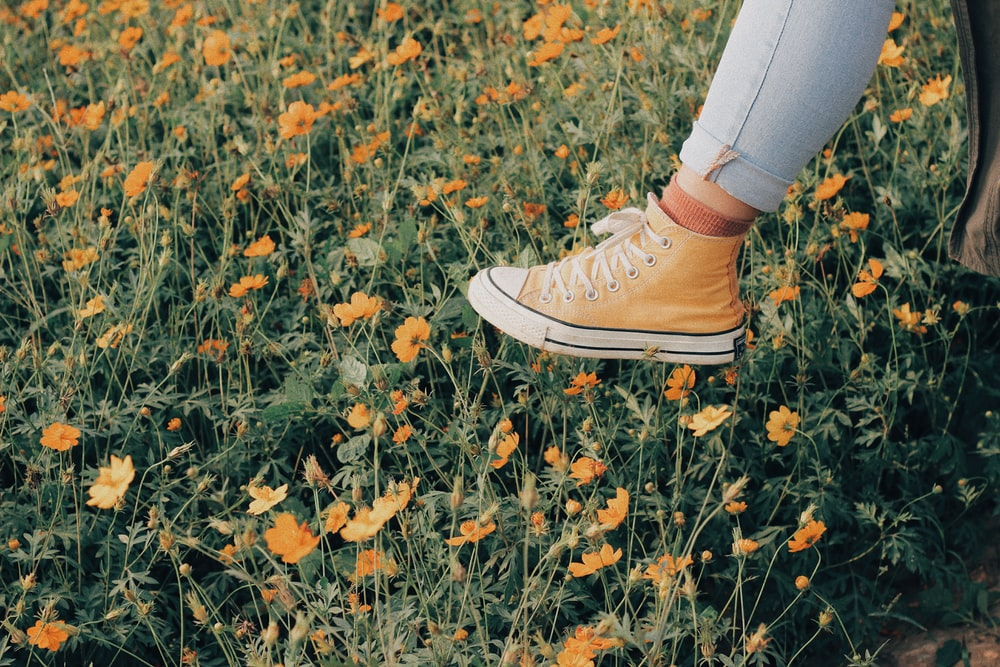 yellow and white lace-up sneaker on foot