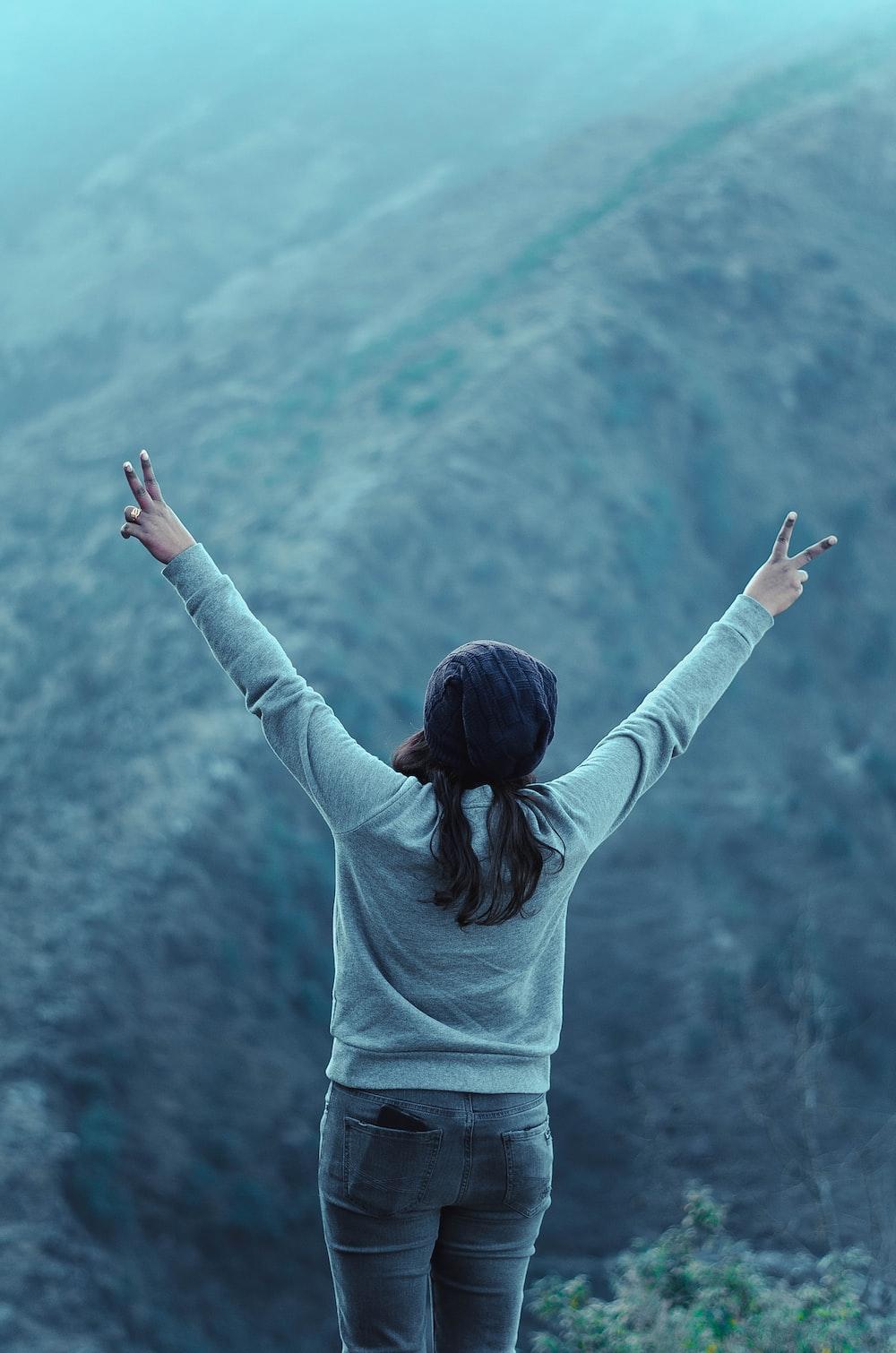 women posing in mountains