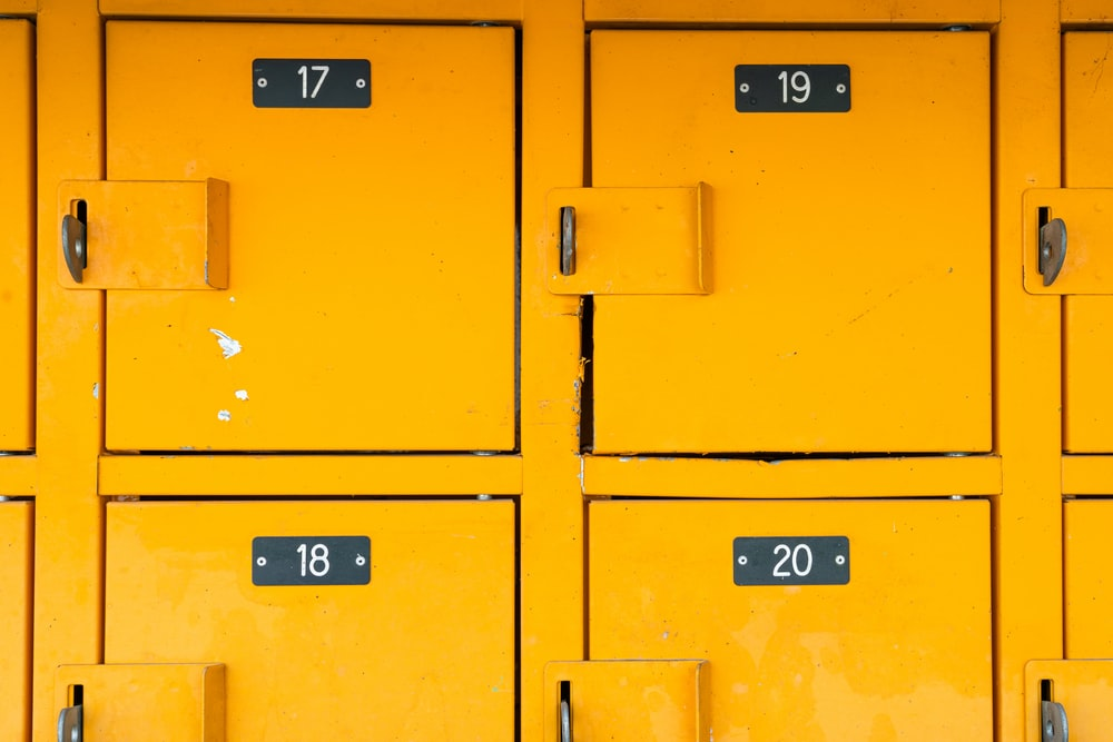 yellow locker cabinet