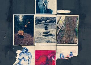 stack of stones between two tree collage photos
