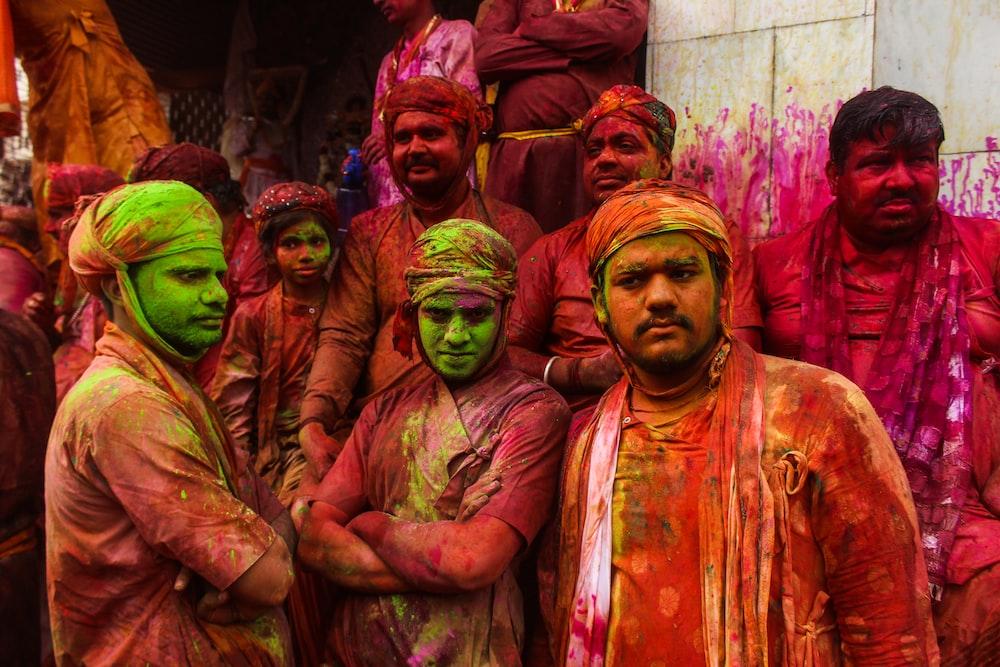 men's splattered with color