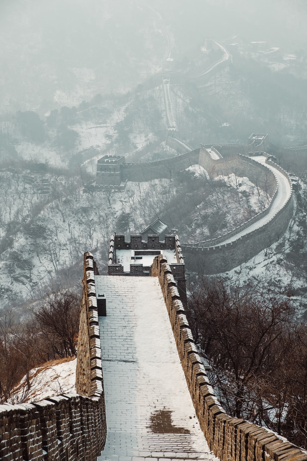 The Great wall of China covered with snow