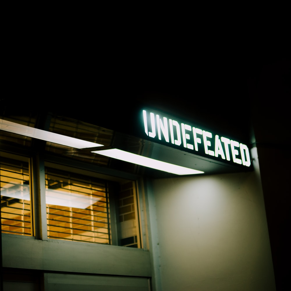 undefeated signage turned-on on building