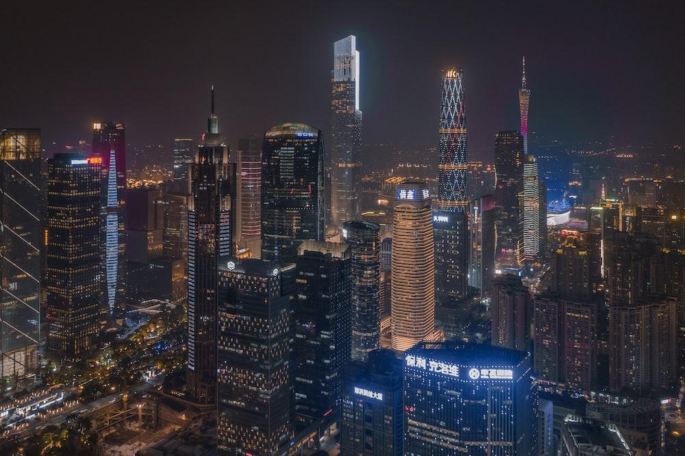 skyscraper building during nighttime