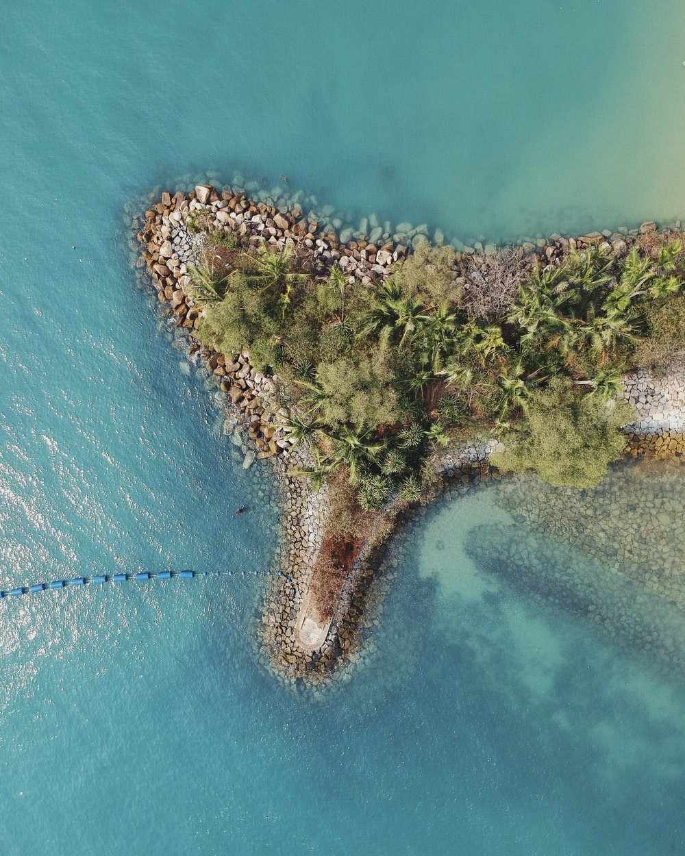 birds-eye view photography of island