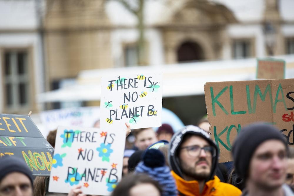 crowd holding signage during daytime