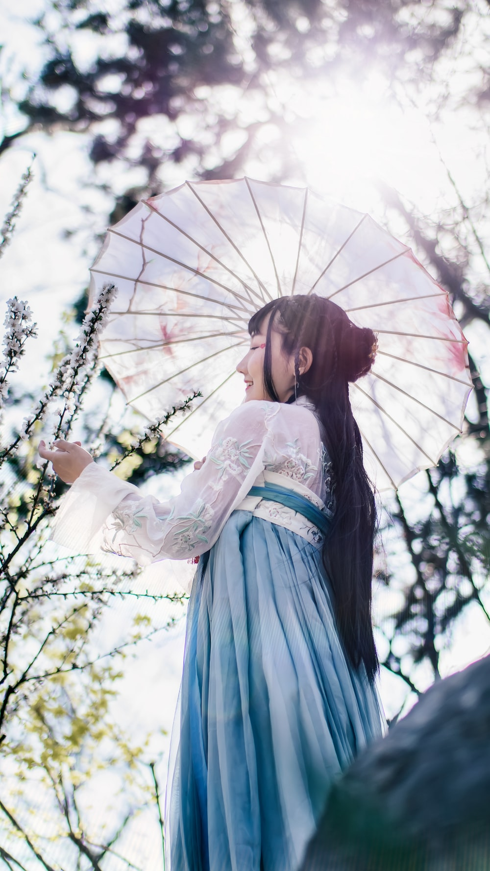 woman in kimono holding umbrella