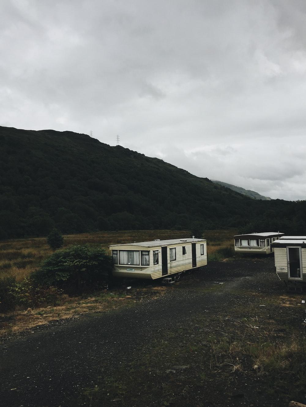 white travel trailer during daytime