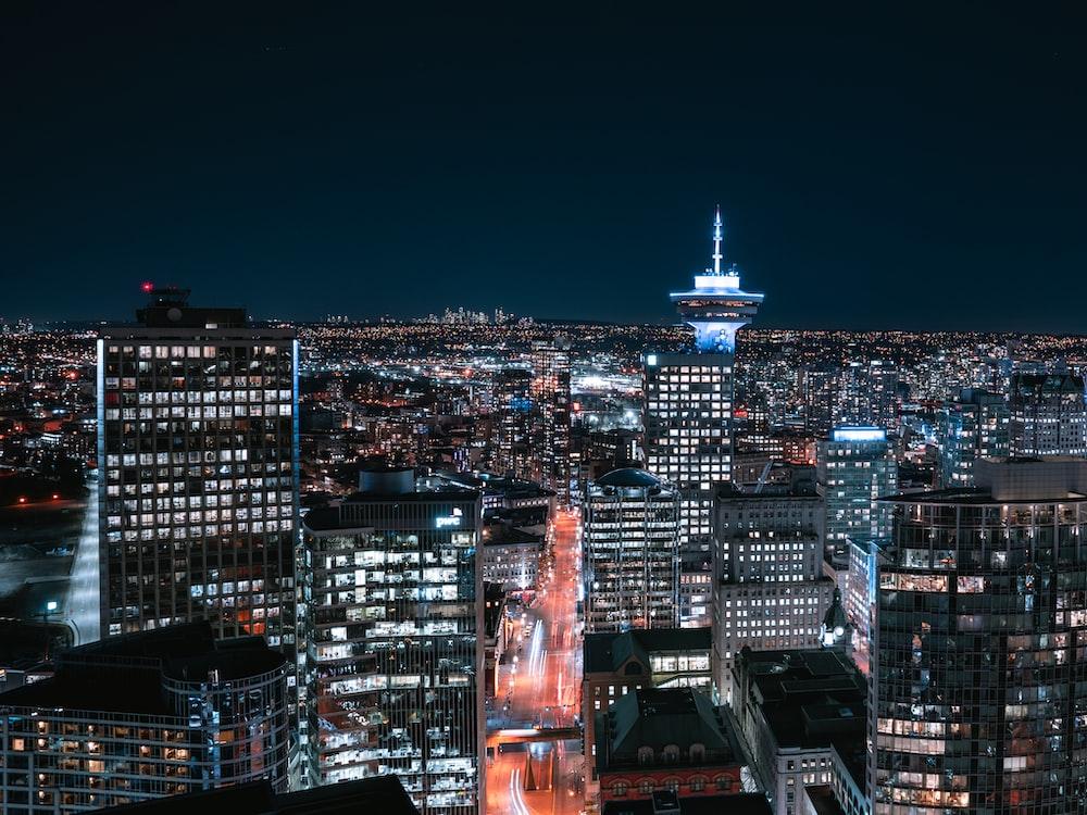 bird's-eye view photo of city during nighttime