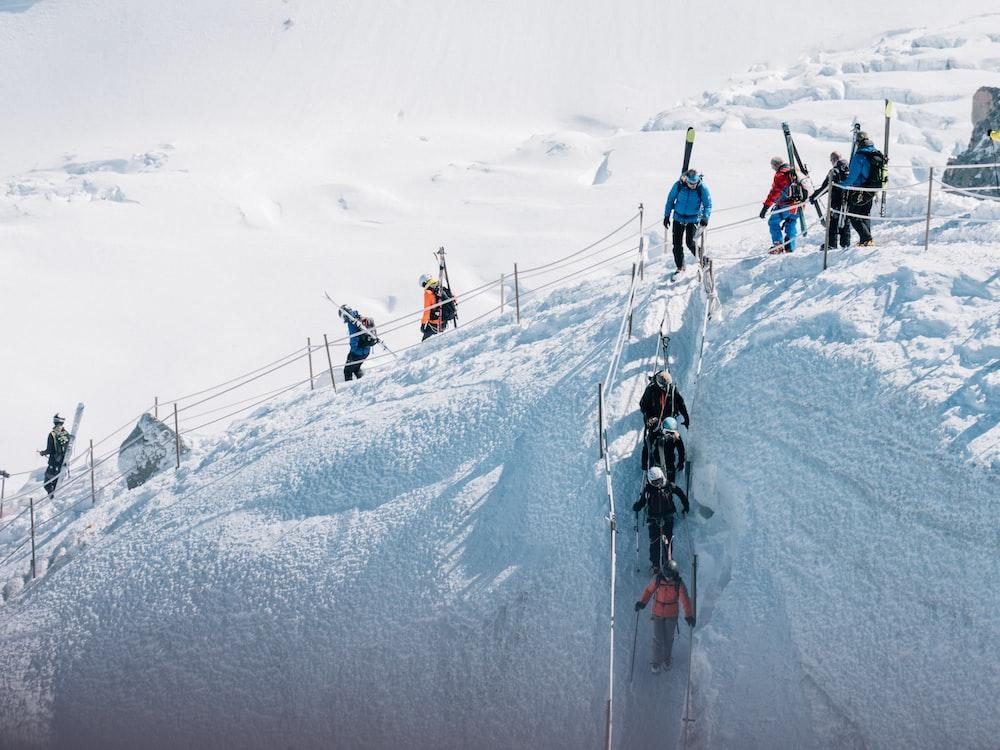 people snowboarding on snow