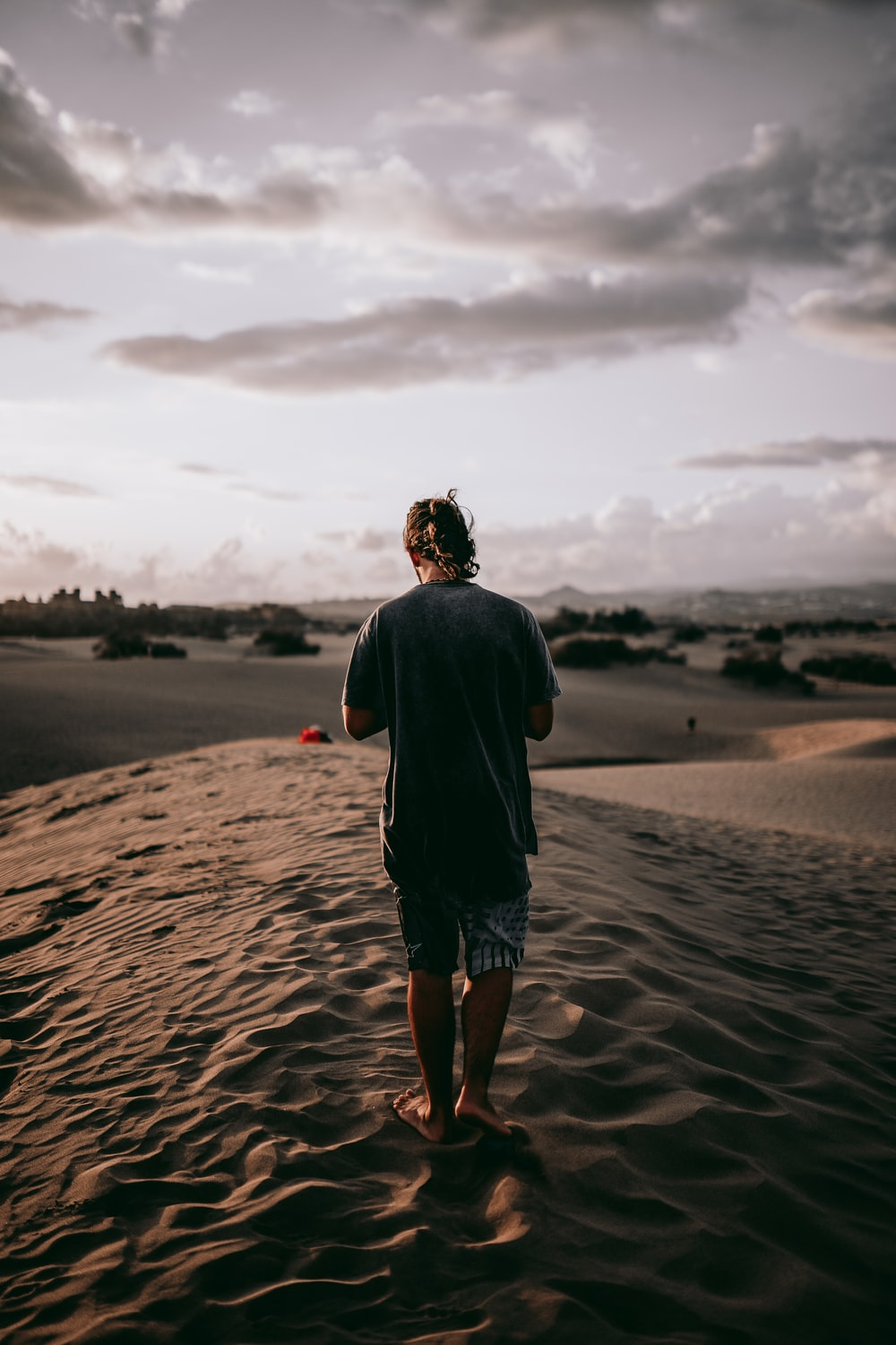man standing on deserted place