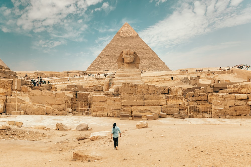 person walking near The Great Sphinx