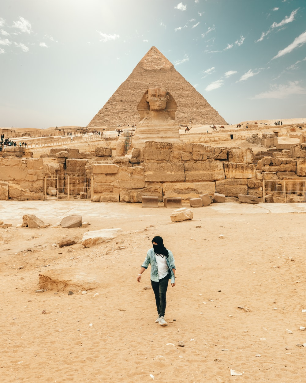 person standing in front of The Great Spinx, Egypt