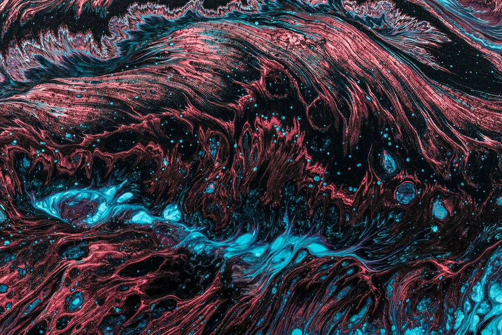 red and blue fluid abstract painting