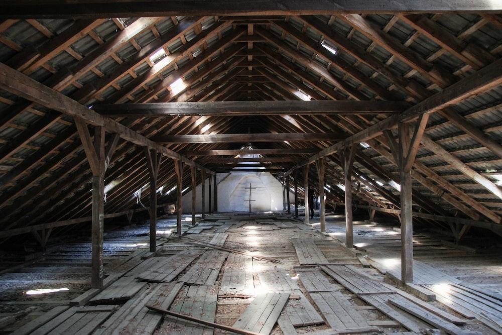 brown wooden attic