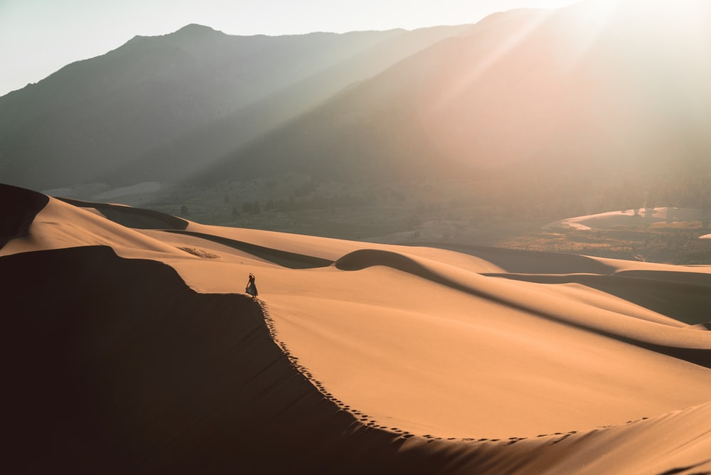 person standing on sand dune