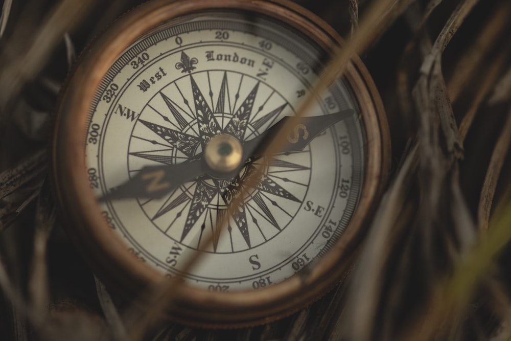brass-colored directional compass on grass