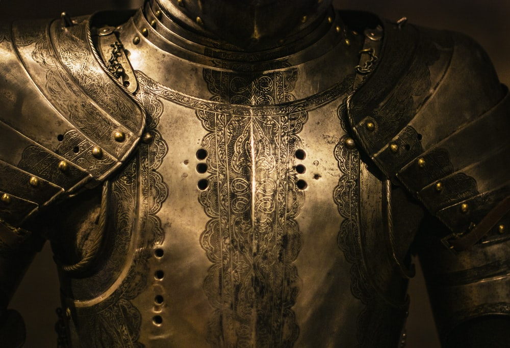 gray stainless steel armor
