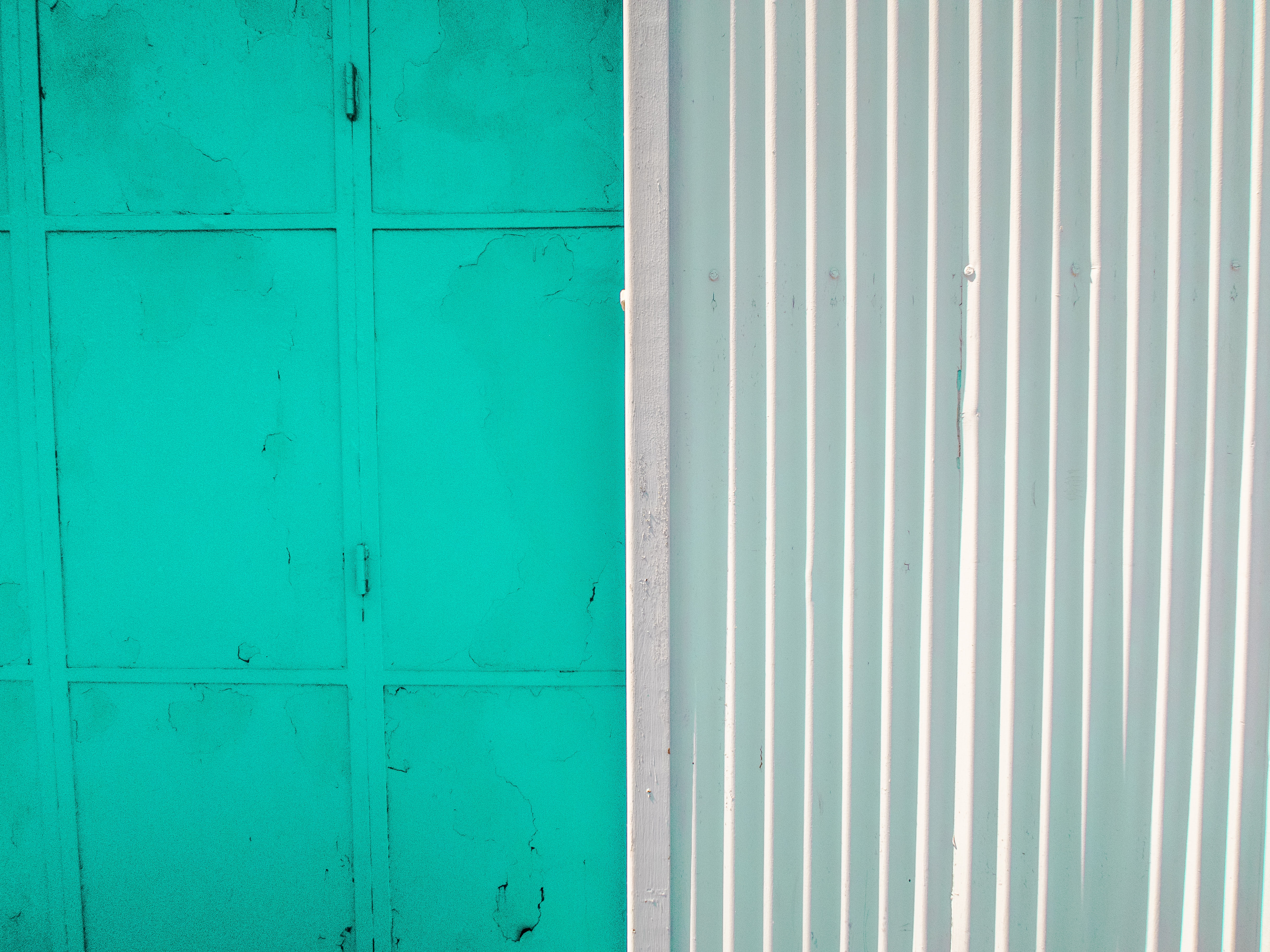 teal painted wall