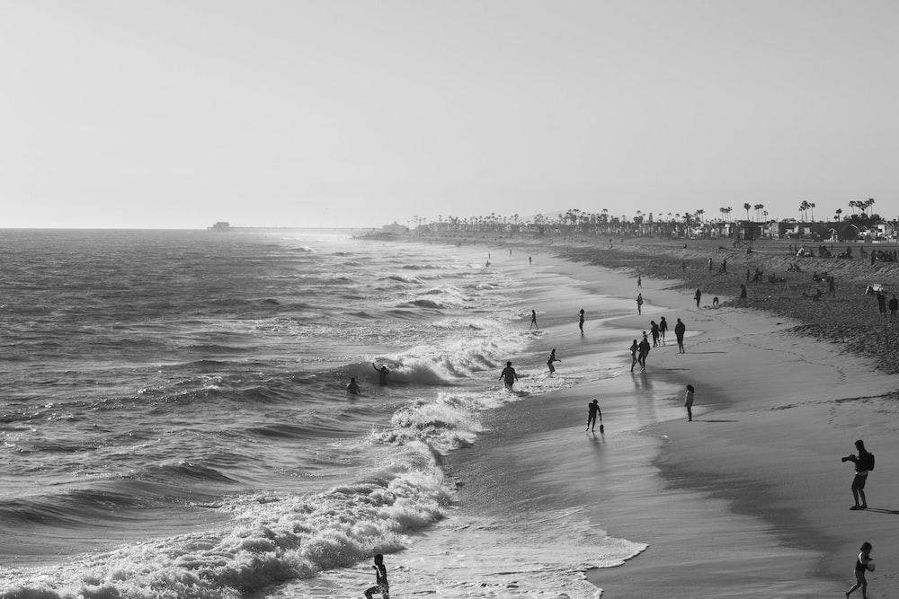 greyscale photo of group of people on seashore